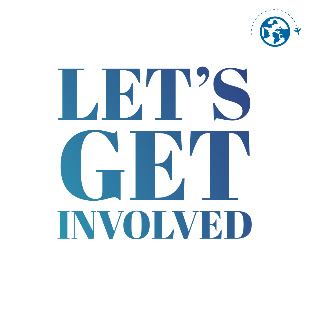 blue text that says let's get involved and a world icon
